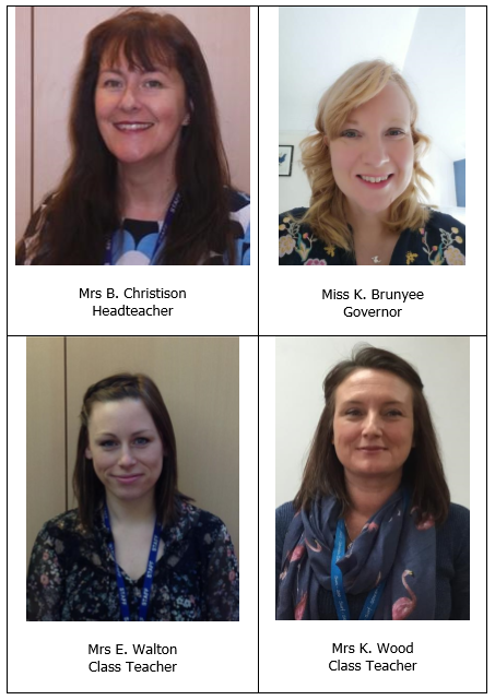 Portrait images of the four members of the Safeguarding team