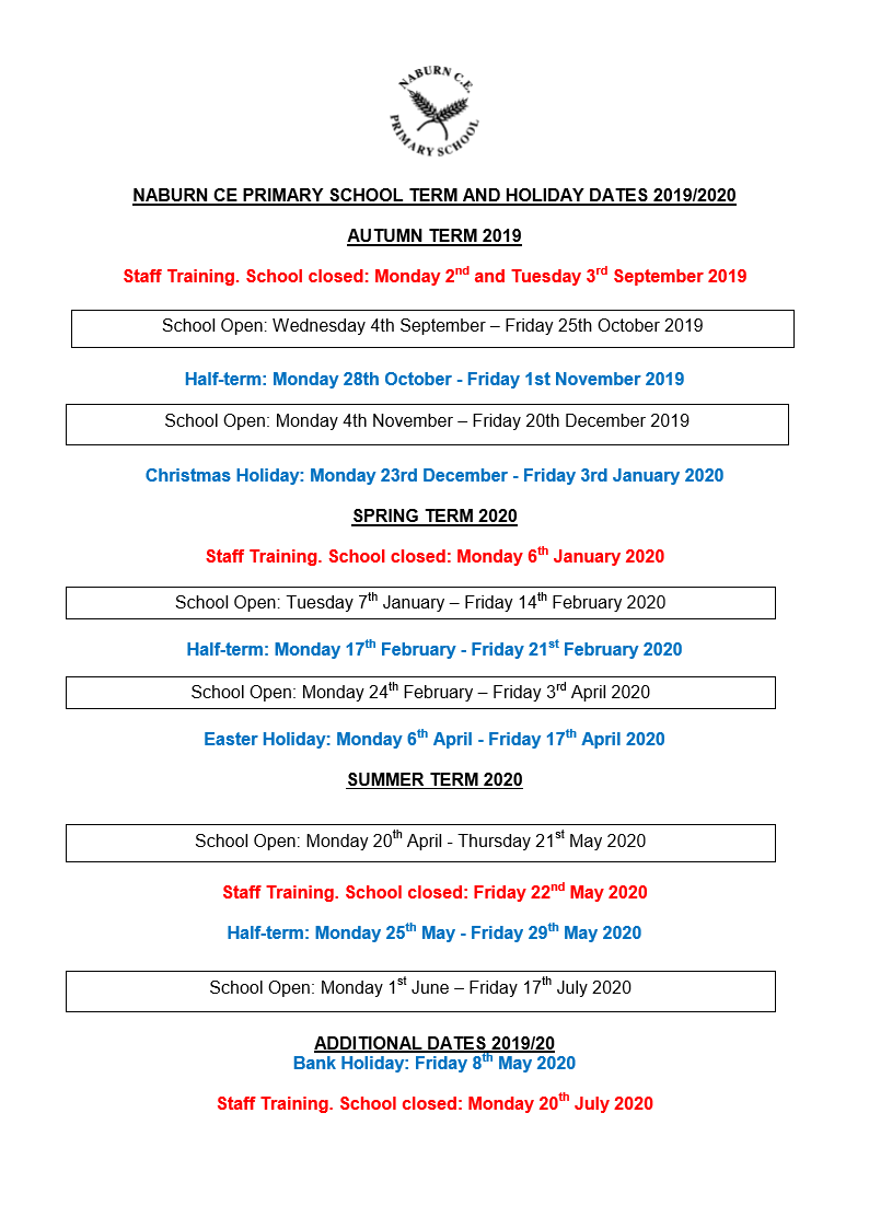 Christmas 2019 Bank Holidays.Term Dates For 2019 2020 With Amended Bank Holiday